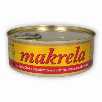 Makrela ve vlastní šťávě s přídavkem oleje 240g SOKRA