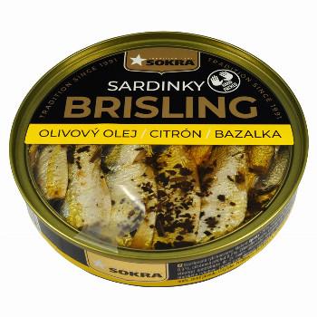 Sardinky Brisling v olivovém oleji s citrónem a bazalkou 120g SOKRA